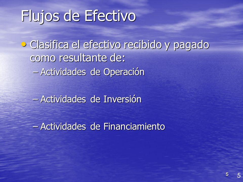 Flujos de Efectivo Clasifica el efectivo recibido y pagado como resultante de: Actividades de Operación.