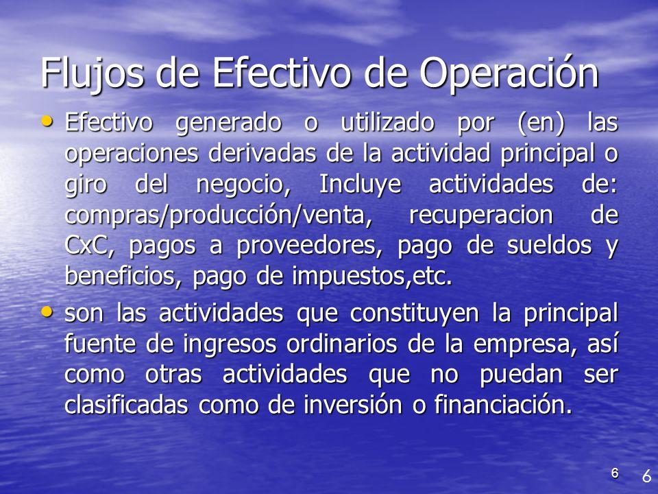 Flujos de Efectivo de Operación