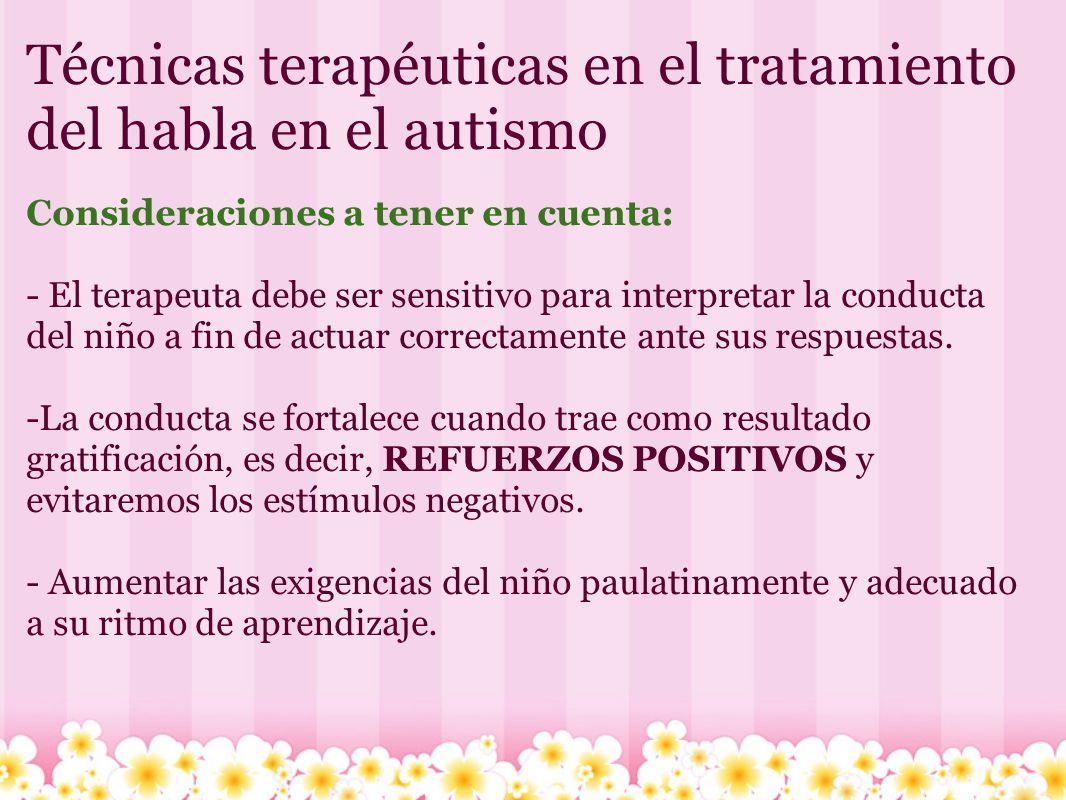 Técnicas terapéuticas en el tratamiento del habla en el autismo