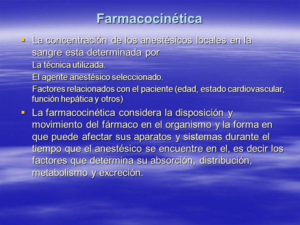 Farmacocinética La concentración de los anestésicos locales en la sangre esta determinada por. La técnica utilizada.