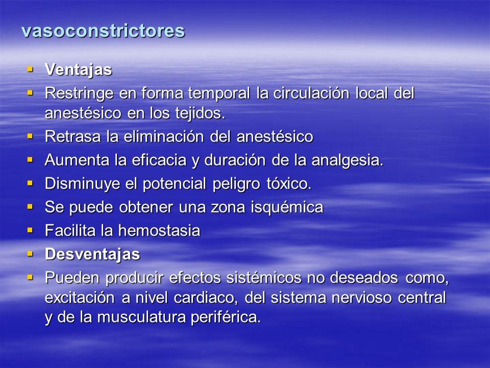 vasoconstrictores Ventajas