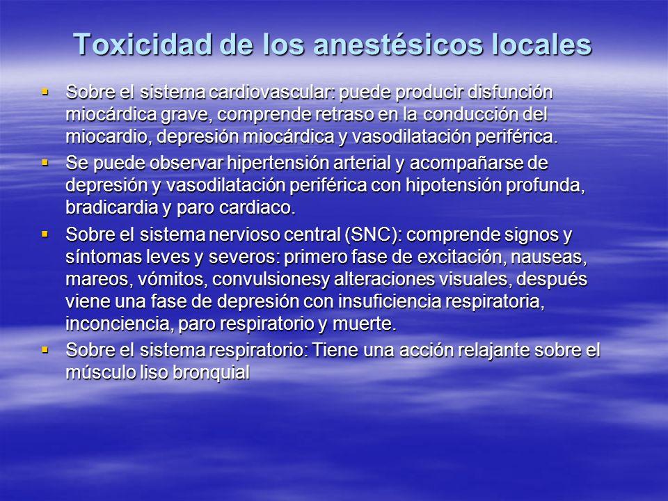 Toxicidad de los anestésicos locales
