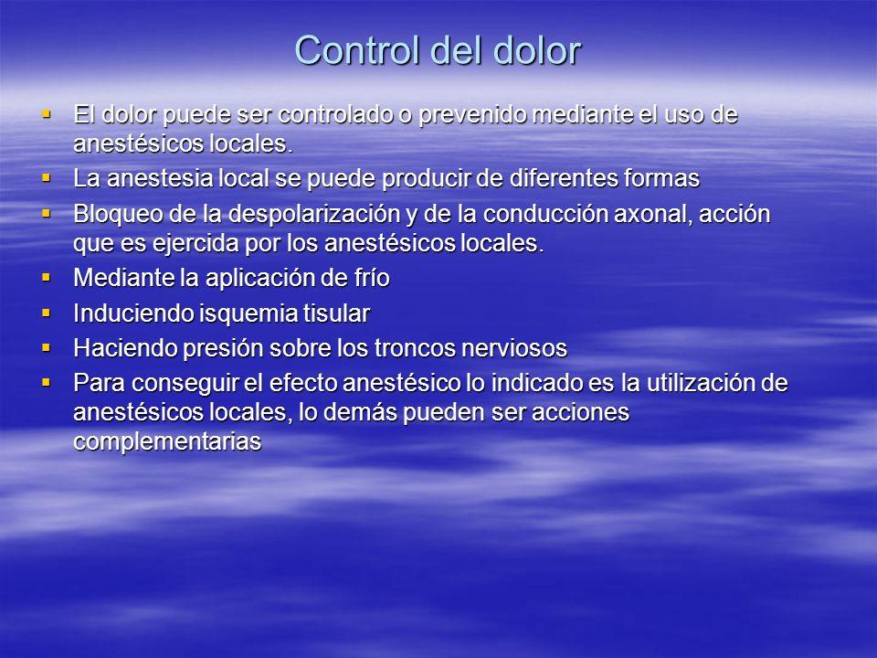 Control del dolor El dolor puede ser controlado o prevenido mediante el uso de anestésicos locales.