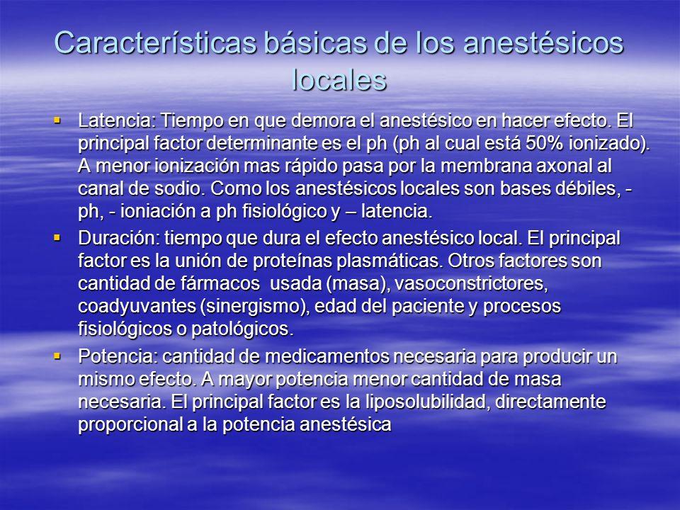 Características básicas de los anestésicos locales