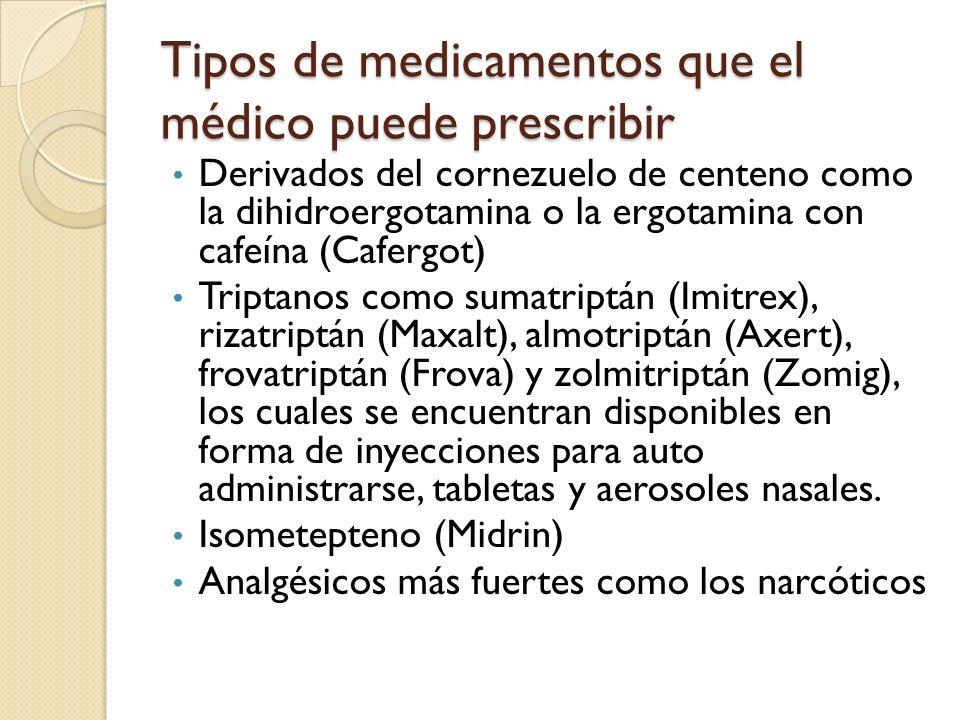 Tipos de medicamentos que el médico puede prescribir