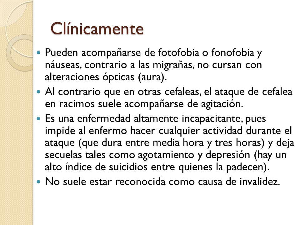Clínicamente Pueden acompañarse de fotofobia o fonofobia y náuseas, contrario a las migrañas, no cursan con alteraciones ópticas (aura).