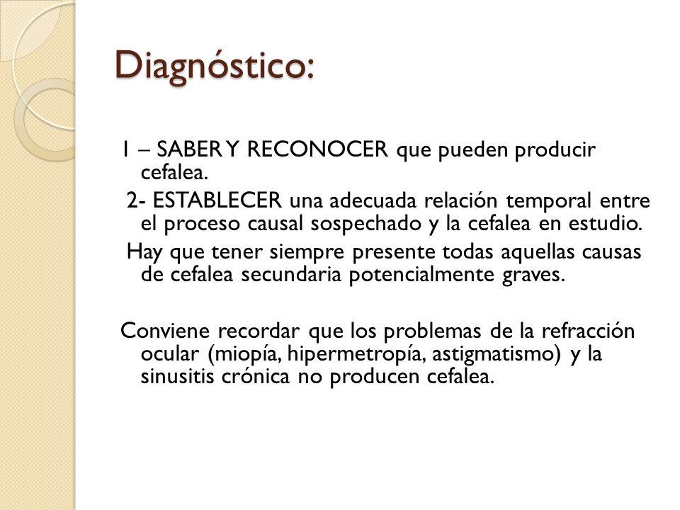 Diagnóstico: 1 – SABER Y RECONOCER que pueden producir cefalea.