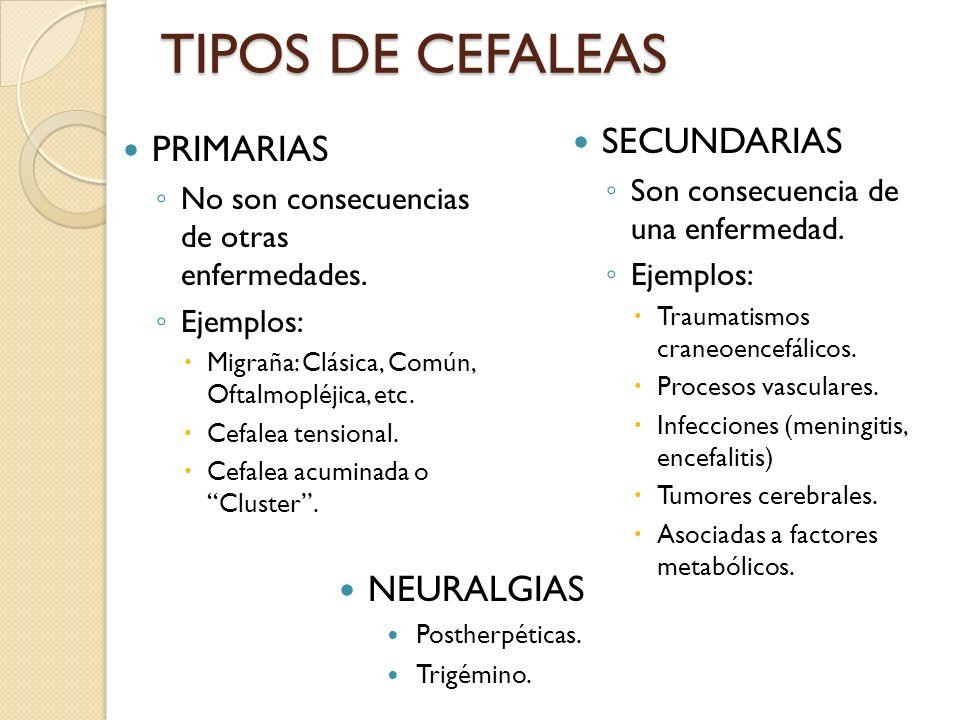TIPOS DE CEFALEAS SECUNDARIAS PRIMARIAS NEURALGIAS