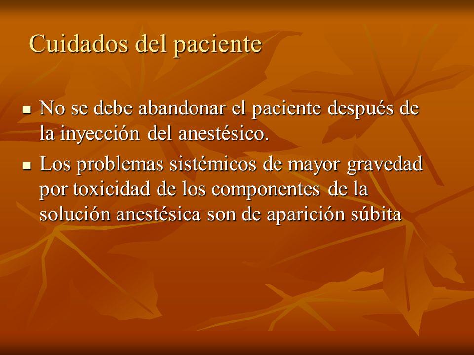 Cuidados del paciente No se debe abandonar el paciente después de la inyección del anestésico.