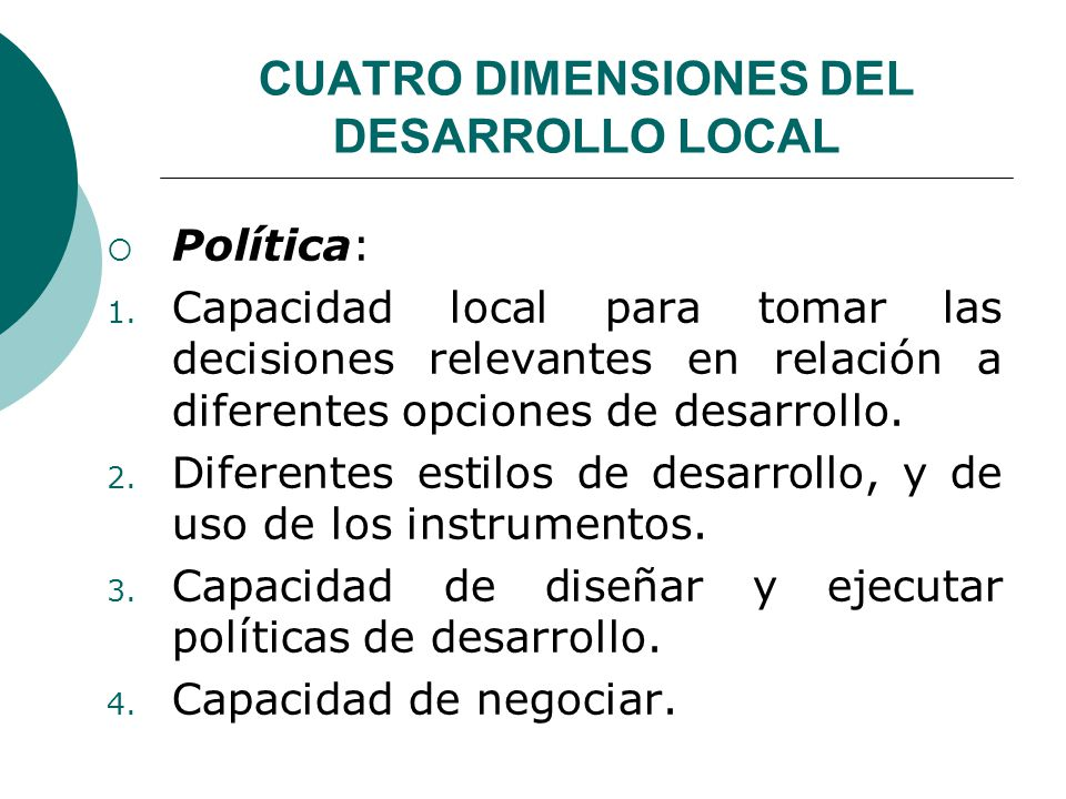 CUATRO DIMENSIONES DEL DESARROLLO LOCAL