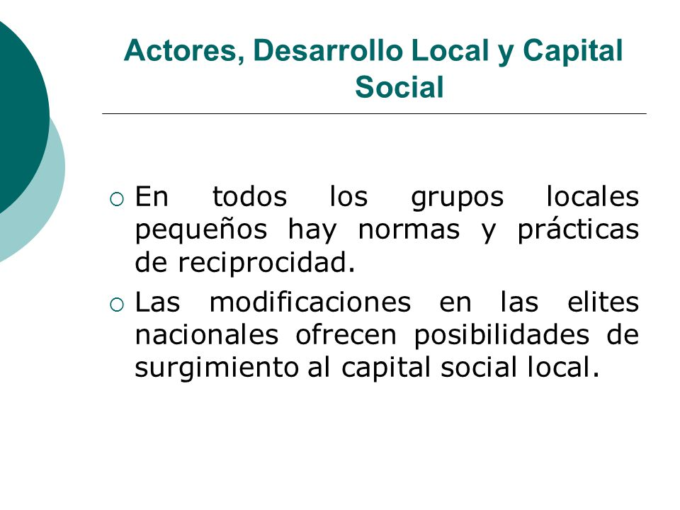 Actores, Desarrollo Local y Capital Social