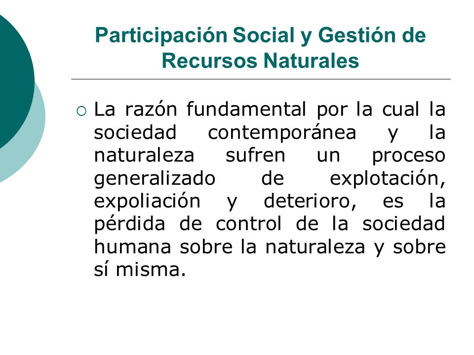 Participación Social y Gestión de Recursos Naturales