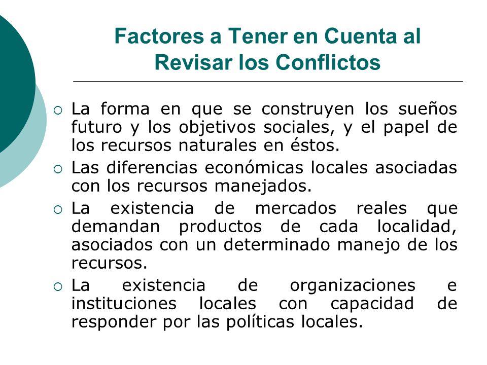 Factores a Tener en Cuenta al Revisar los Conflictos