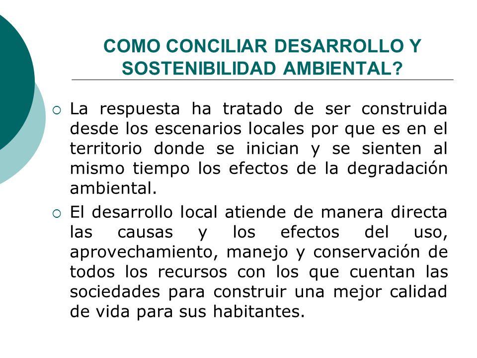 COMO CONCILIAR DESARROLLO Y SOSTENIBILIDAD AMBIENTAL