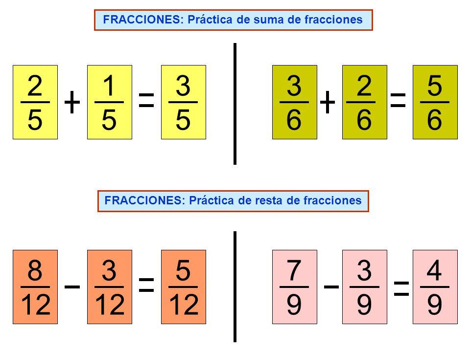 FRACCIONES: Práctica de suma de fracciones