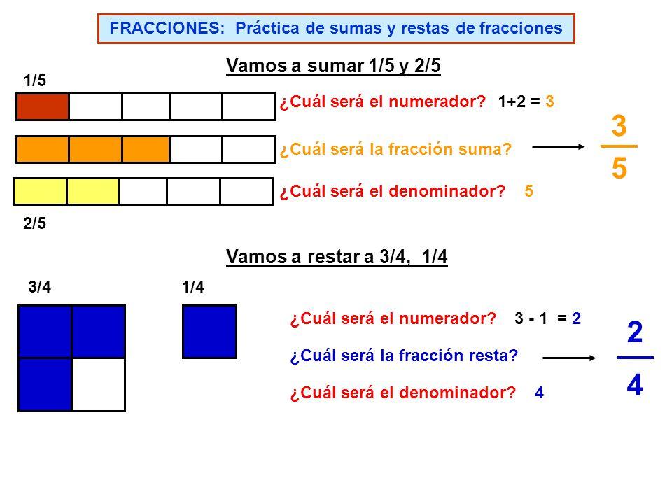FRACCIONES: Práctica de sumas y restas de fracciones
