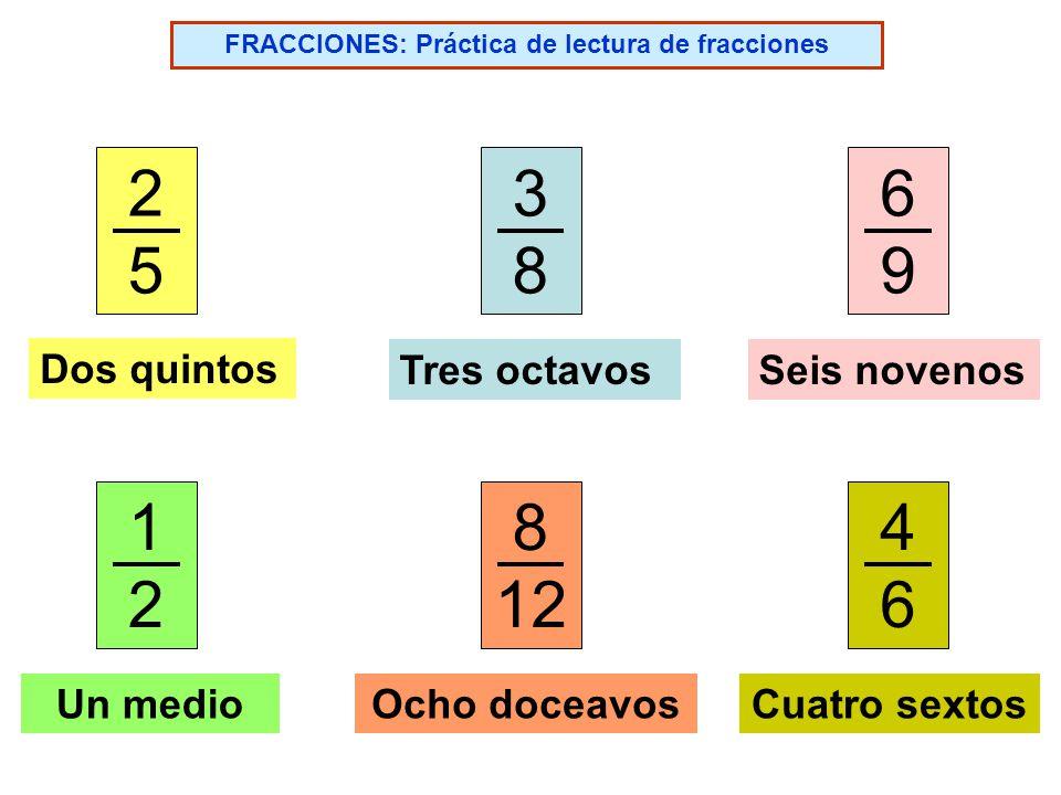 FRACCIONES: Práctica de lectura de fracciones