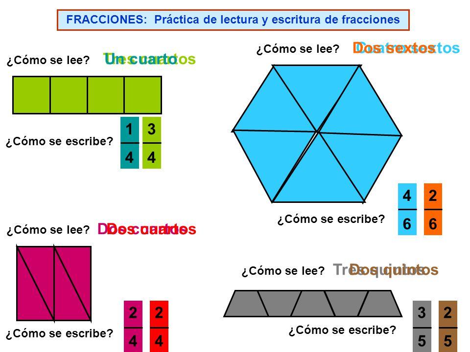 FRACCIONES: Práctica de lectura y escritura de fracciones