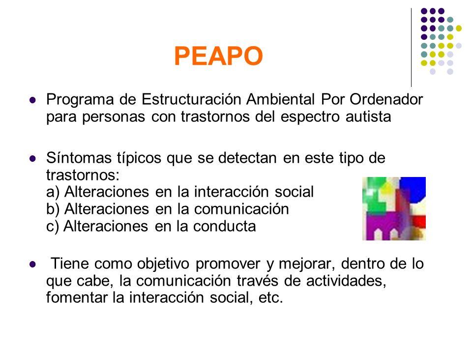 PEAPOPrograma de Estructuración Ambiental Por Ordenador para personas con trastornos del espectro autista.