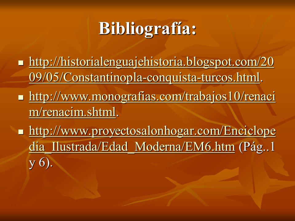 Bibliografía: http://historialenguajehistoria.blogspot.com/2009/05/Constantinopla-conquista-turcos.html.