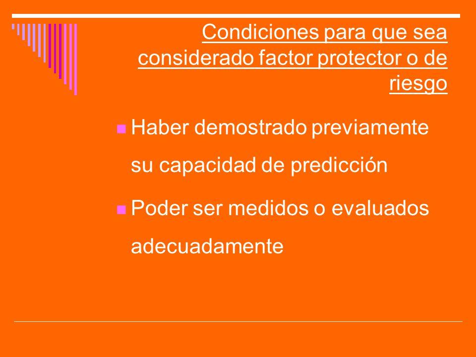 Condiciones para que sea considerado factor protector o de riesgo
