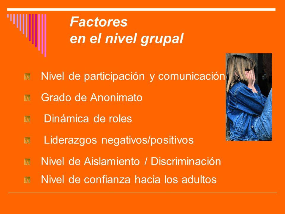 Factores en el nivel grupal