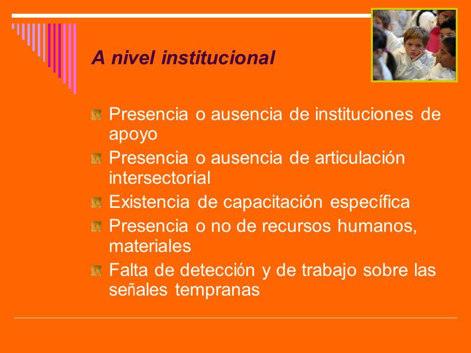 A nivel institucional Presencia o ausencia de instituciones de apoyo