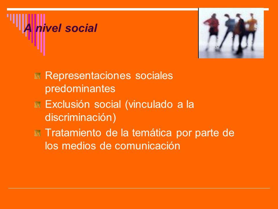 A nivel social Representaciones sociales predominantes