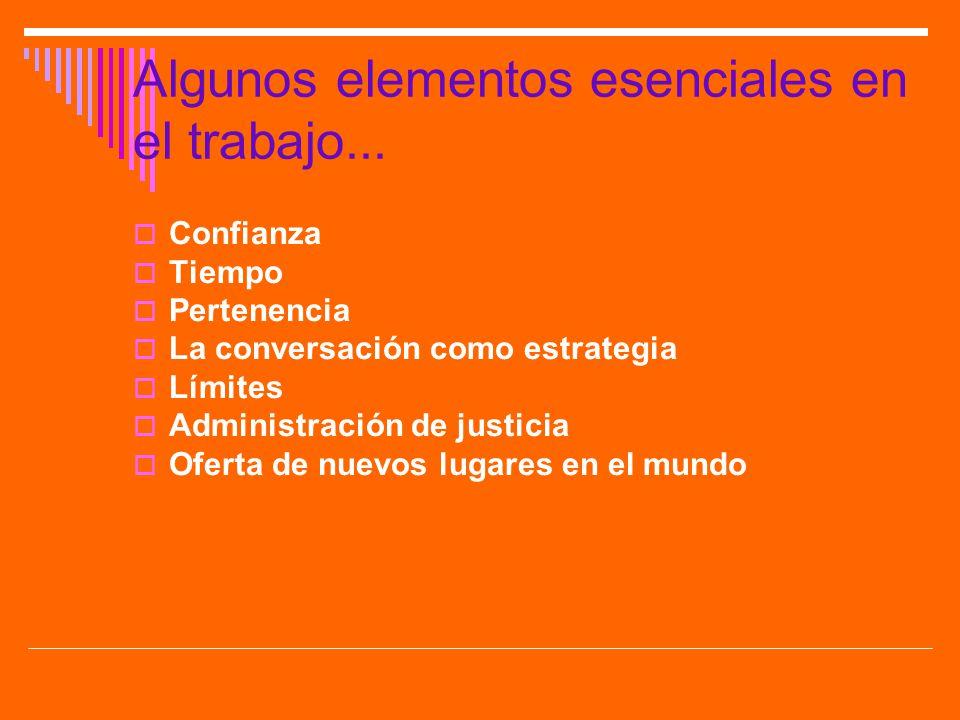 Algunos elementos esenciales en el trabajo...
