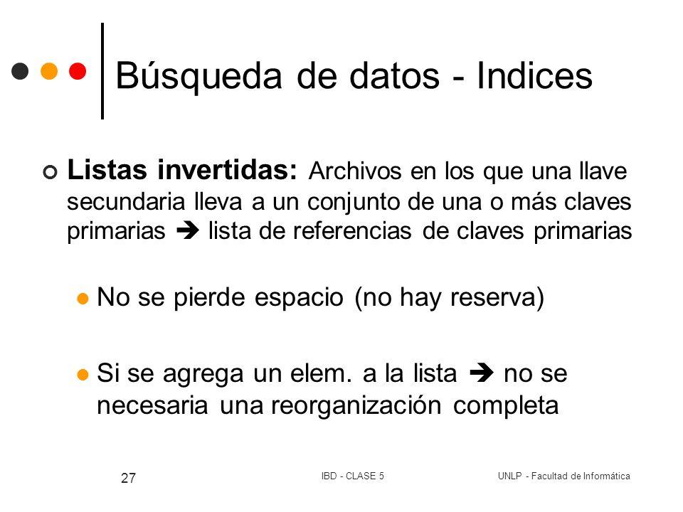 Búsqueda de datos - Indices