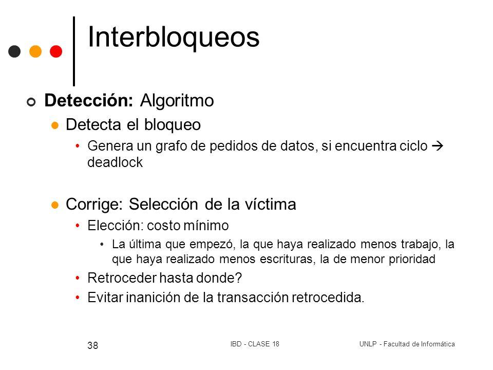 Interbloqueos Detección: Algoritmo Detecta el bloqueo