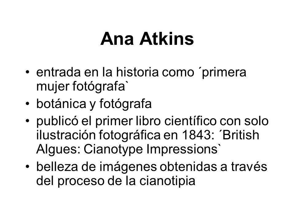 Ana Atkins entrada en la historia como ´primera mujer fotógrafa`