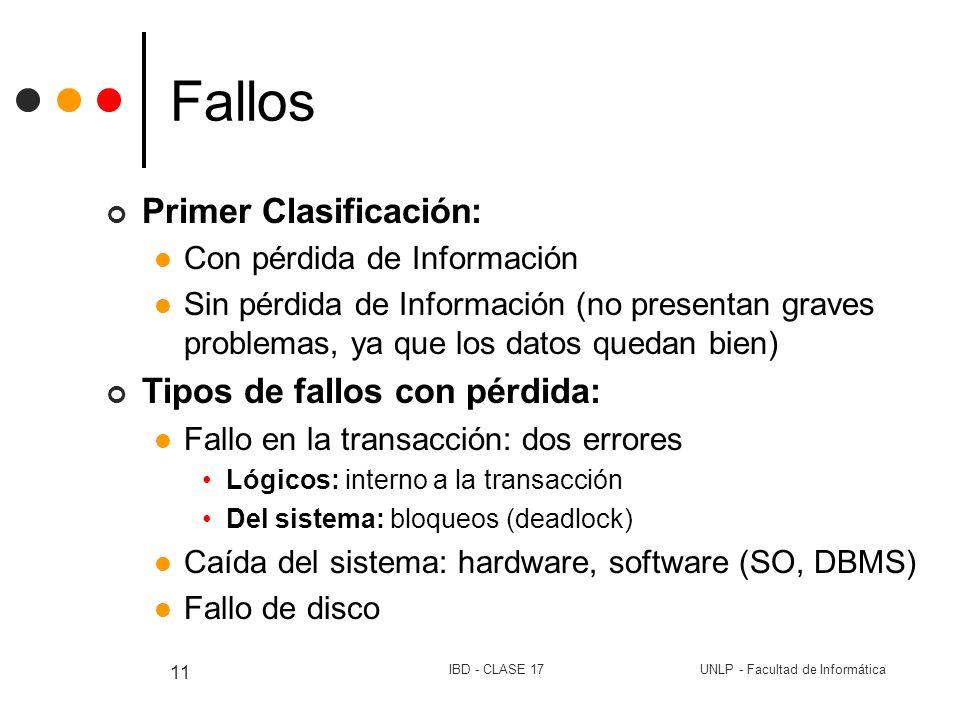 Fallos Primer Clasificación: Tipos de fallos con pérdida:
