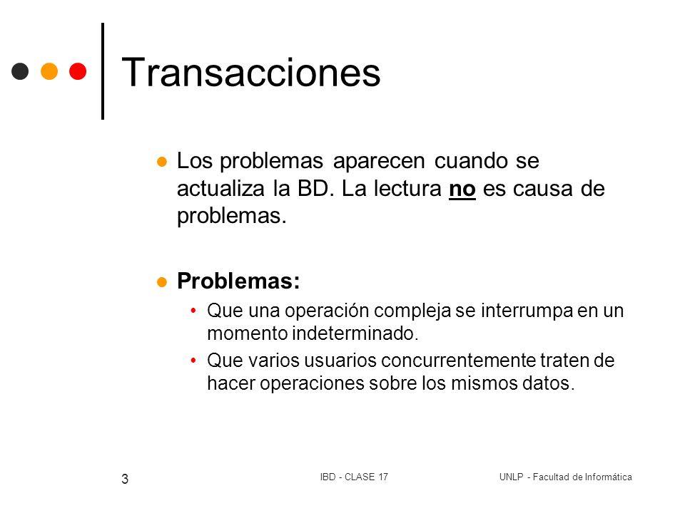 Transacciones Los problemas aparecen cuando se actualiza la BD. La lectura no es causa de problemas.
