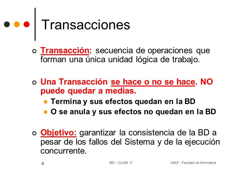 Transacciones Transacción: secuencia de operaciones que forman una única unidad lógica de trabajo.