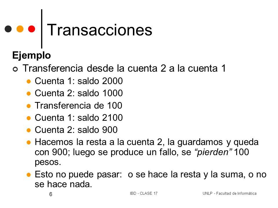 Transacciones Ejemplo Transferencia desde la cuenta 2 a la cuenta 1