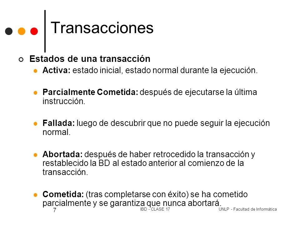 Transacciones Estados de una transacción