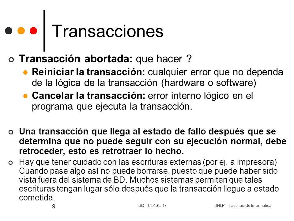 Transacciones Transacción abortada: que hacer