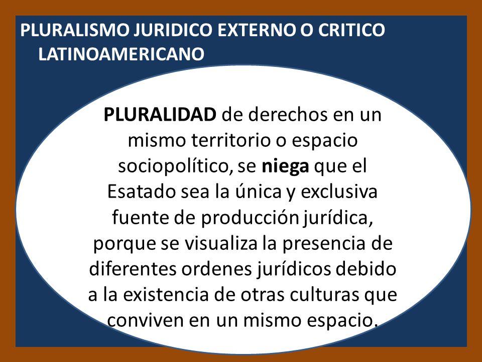 PLURALISMO JURIDICO EXTERNO O CRITICO LATINOAMERICANO