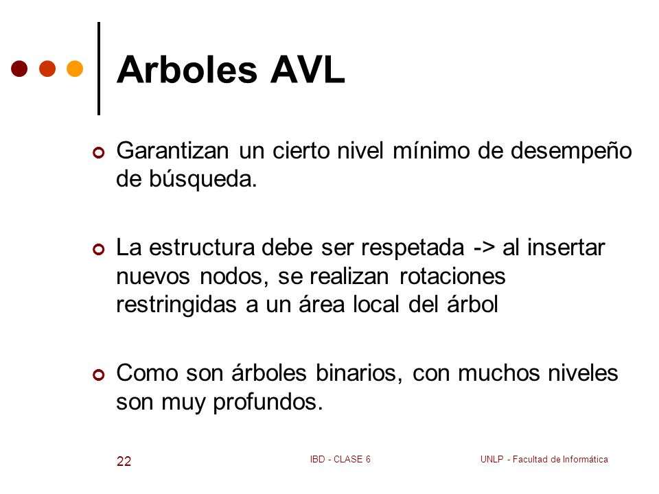 Arboles AVL Garantizan un cierto nivel mínimo de desempeño de búsqueda.