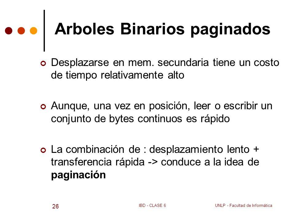 Arboles Binarios paginados