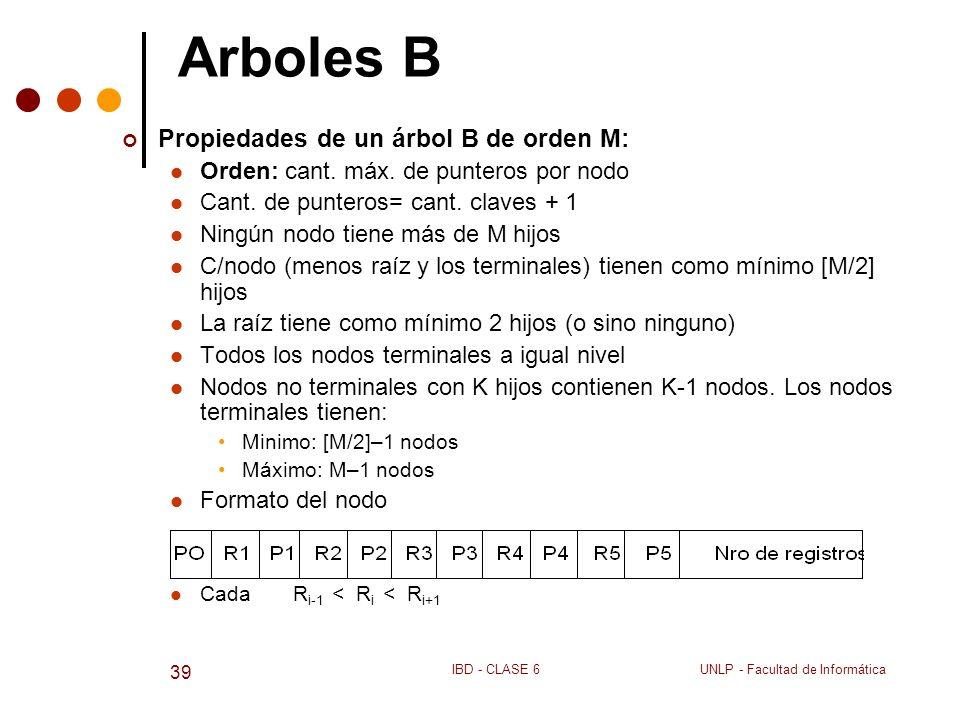 Arboles B Propiedades de un árbol B de orden M: