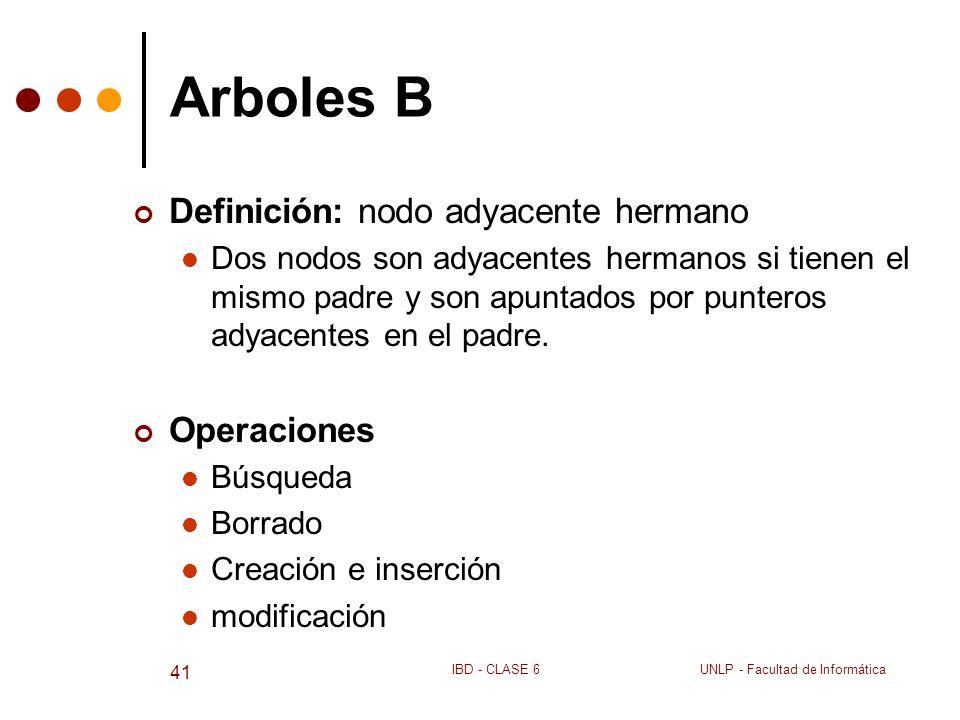 Arboles B Definición: nodo adyacente hermano Operaciones
