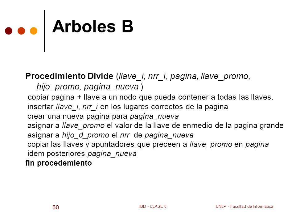 Arboles B Procedimiento Divide (llave_i, nrr_i, pagina, llave_promo, hijo_promo, pagina_nueva )