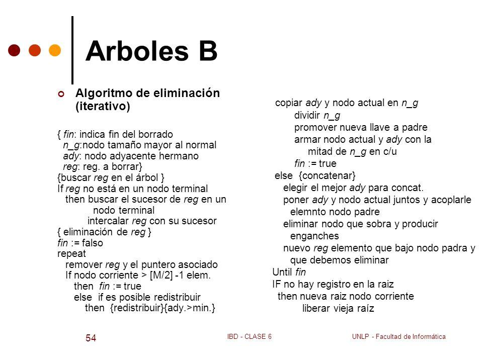 Arboles B Algoritmo de eliminación (iterativo)