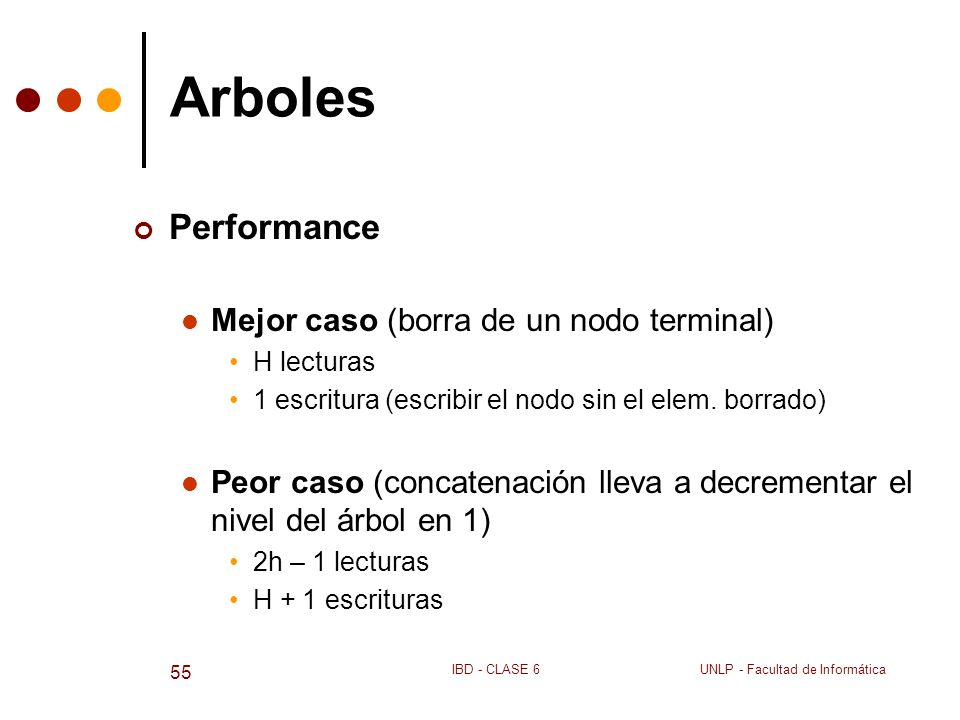 Arboles Performance Mejor caso (borra de un nodo terminal)