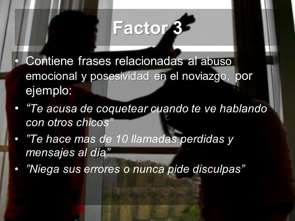 Factor 3 Contiene frases relacionadas al abuso emocional y posesividad en el noviazgo, por ejemplo: