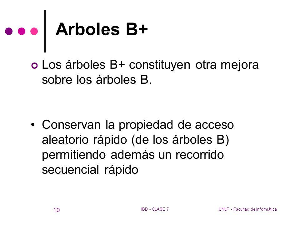Arboles B+ Los árboles B+ constituyen otra mejora sobre los árboles B.