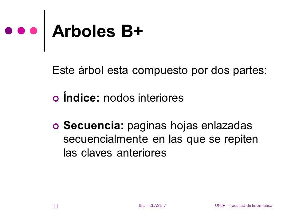 Arboles B+ Este árbol esta compuesto por dos partes: