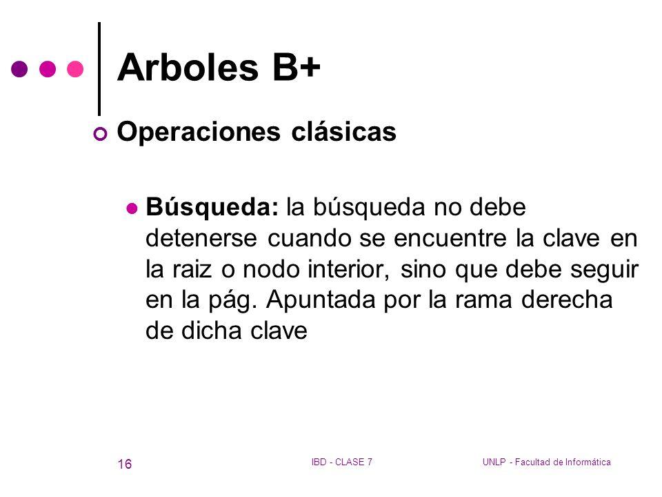 Arboles B+ Operaciones clásicas